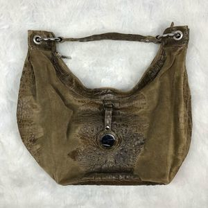 Anthropologie Junior Drake Suede Crocodile Bag